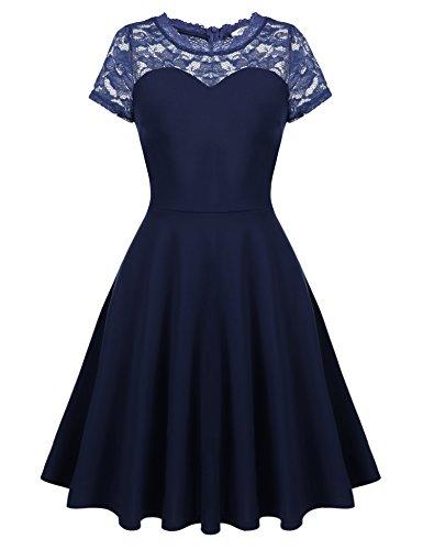 cheaper 4929c 28cfa Meaneor Damen 50er Spitze Vintage Kleid Rockabilly Tüll Partykleid  Cocktailkleid mit Kurzarm