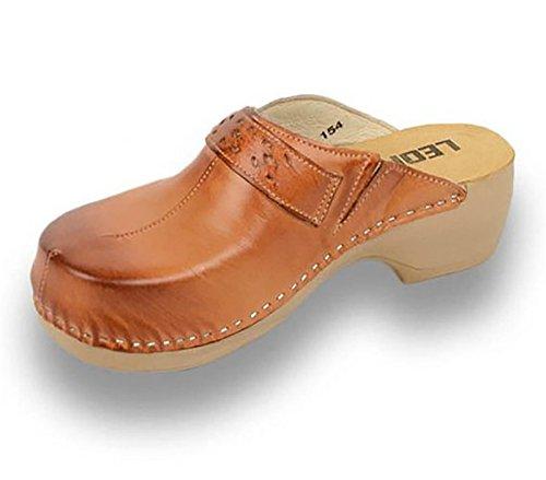 Pantofole donna pelle Ciabatte in Pu154 marrone Scarpe da Donna Leon Zoccoli UwqExPB6wF