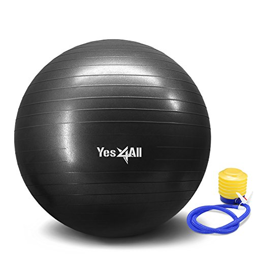 Yes4All Yoga Exercise Ball with Pump (Foot) – Anti Burst & Extra Thick Stability Ball / Balance Ball / Fitness Ball – Small Yoga Ball (55 cm, Black)
