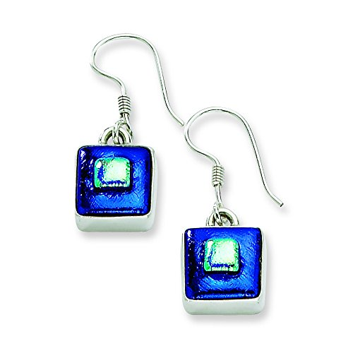 Sterling Silver Blue Dichroic Glass Square Shaped Dangle Earrings Dichroic Glass Square Earrings