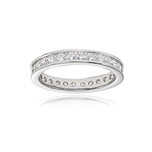 Sterling Silver Cubic Zirconia Round 2mm Channel Set Polished Eternity Band Ring, Size 7 ()