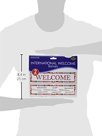 1 count International Welcome Banners Party Accessory asstd designs 2//Pkg