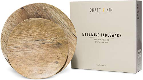 Melamine Dinnerware Set - Melamine Plates 8 Pcs Outdoor Plates Summer Plates and Bowls Sets Dinnerware Unbreakable Plates Ideal Camping Dish Set Dinnerware Set for 4 Dishwasher Safe Plates (Woodgrain) ()