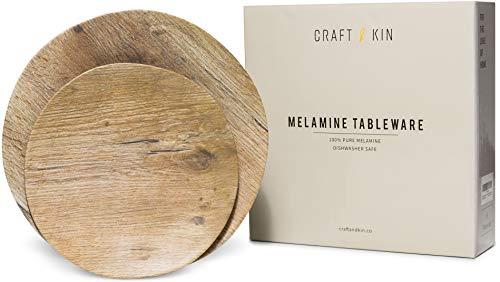 Melamine Dinnerware Set - Melamine Plates 8 Pcs Outdoor Plates Summer Plates and Sets Dinnerware Melamine Plate Ideal Camping Dish Set Dinnerware Set for 4 Dishwasher Safe Plates (Woodgrain)
