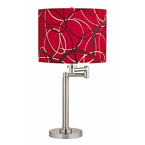 (Swing Arm Table Lamp with Red and Grey Drum Shade)