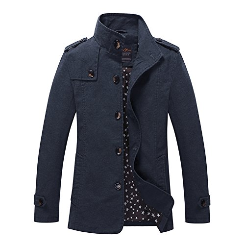 H.T.Niao Jacket8525C3 Men 's Fashion Long Casual Jackets(Blue,Size (Noritake Applique)
