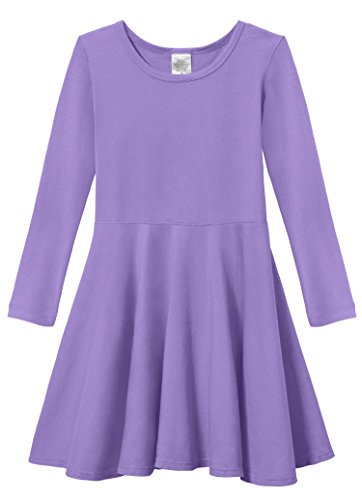 Girls' Super Soft Cotton Long Sleeve Twirly Skater Party Dress, Deep (Medium) Purple, 3T (Purple Soft Dress)