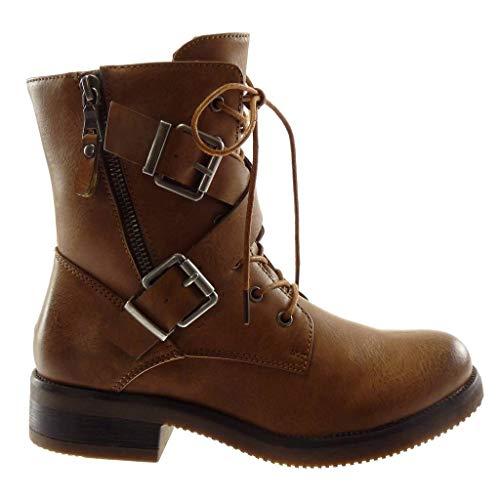 Blockabsatz Boots cm Schleife Biker 5 Stiefeletten Schuhe Riemen Combat Stiefel Camel Gekreuzte Reißverschluss Damen Angkorly 3 nBPwqfX