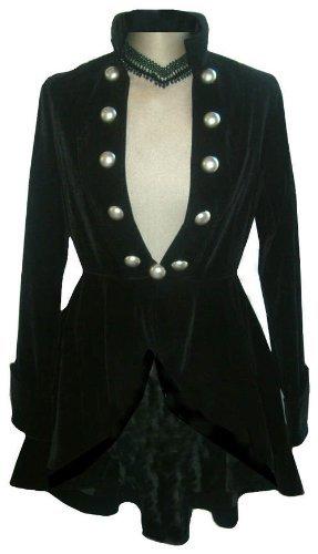 Black Elegant Velour Gothic Steampunk Victorian Regency Style Jacket Size 20 ()