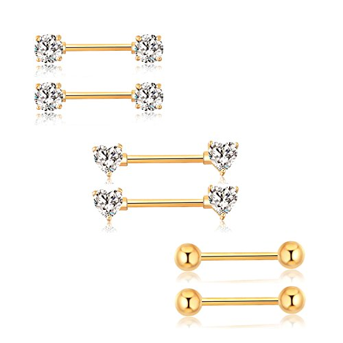 GAGABODY Rose Gold Nipple Ring Barbell Body Piercing 14G 9/16'' 316L Stainless ()