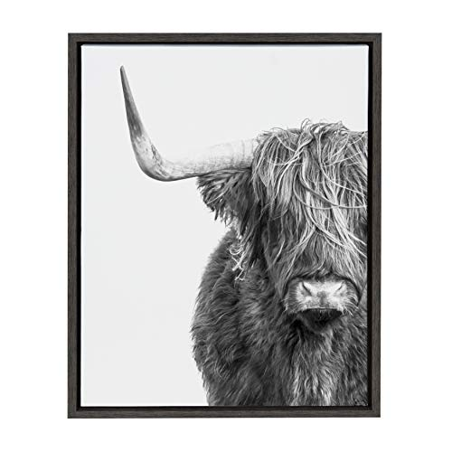 Kate and Laurel Sylvie Highland Cow Black and White Portrait Framed Canvas by Amy Peterson, 18x24 Gray, Adorable Wall Decor for Living Room, Nursery