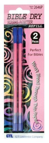 Bible Dry Highlighter Refills (2) Pink Carded (Bible Highlighter Dry)