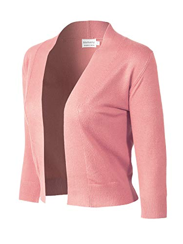 MixMatchy Women's Basic Solid 3/4 Sleeve Open Front Cropped Cardigan (S-XL) Dusty Pink XL