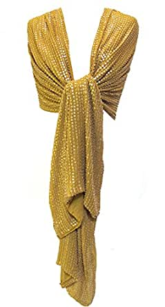 Sequin Beaded Silk Chiffon Stole Shawl Wrap Scarf Mustard Gold Large