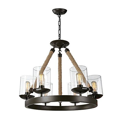 LNC Vintage Chandeliers, 6-Light Metal Rope Rustic Pendant Lighting for Kitchen, Dining Room, Living Room, Clear Glass Shade
