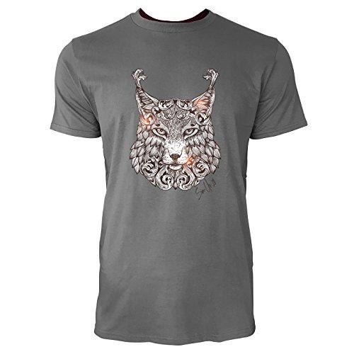 SINUS ART ® Luchskopf im orientalischen Stil Herren T-Shirts in Grau Charocoal Fun Shirt mit tollen Aufdruck
