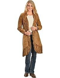 Women's Boar Suede Fringed Maxi Coat - L19-81