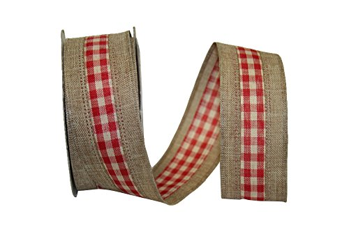 Reliant Ribbon Linen Check We Fabric Ribbons, 1.5