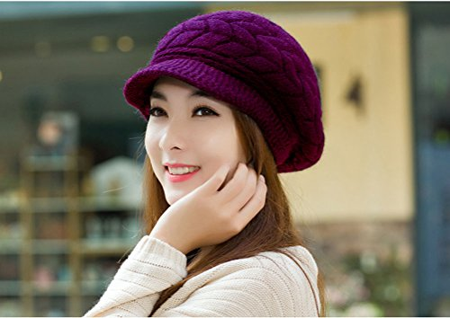 747cebe2945 HindaWi Women Winter Hats Knit Crochet Fashions Snow Warm Cap with ...