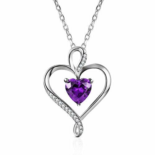 Caperci Sterling Silver Created Amethyst Jewelry Heart Pendant Necklace for Women, Jewelry Gift Ideas for Her