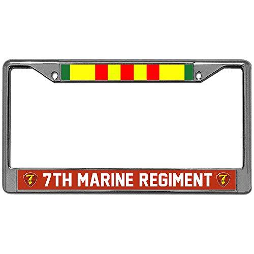 (7th Marine Regiment Vietnam Veteran Car License Plate Frame Holder, Stainless Steel Auto License Cover Holder)