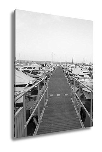 Ashley Canvas Boats Moored In Harbour Near Denia Spain, Wall Art Home Decor, Ready to Hang, Black/White, 20x16, AG6314677 by Ashley Canvas