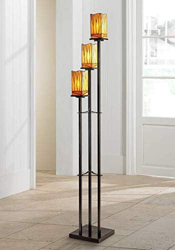 Sedona Art Deco Floor Lamp 3-Light Bronze Amber Tone Tiffany Style Glass Shade for Living Room Bedroom Office - Robert Louis Tiffany