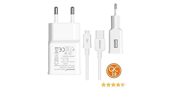 IDUSD Cargador Rapida QC2.0 (Quick Charge) 18w Micro-USB(V8) para ...