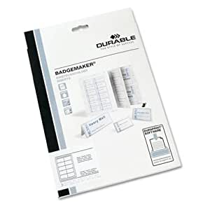 Durable Click-Fold convex name badge inserts, 3.56 x 2.125 Inches/54x90mm, White, 200 per Pack (1455-02)