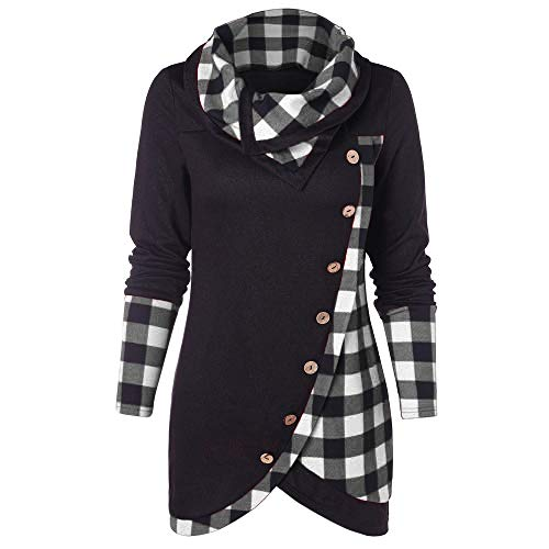 Neck Cable Funnel - 2018 Christmas Women Long Sleeve Red Plaid Turtleneck Casual Black Button Funnel Neck Check Contrast Tunics Pullover Top (B_Black, S)