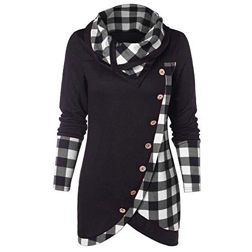 HULKAY Top Women's Cowl Neck Plaid Drawstring Button Hoodie Sweatshirt Tunic Dress(Black 2,S)