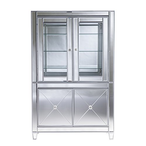 Amazon.com: Southern Enterprises Mirrored Lighted Curio Cabinet: Kitchen U0026  Dining