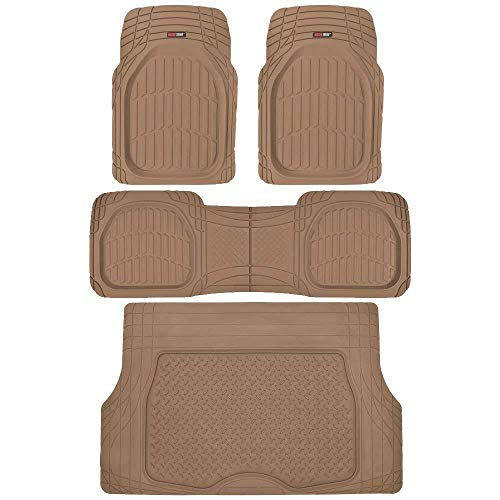 Motor Trend 4pc Beige Car Floor Mats Set Rubber Tortoise Liners w/ Cargo for Auto SUV Trucks (Nissan Versa 2011 Cargo Cover)