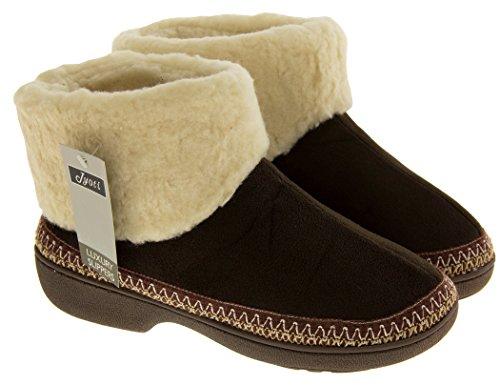 Footwear Studio - Zapatillas de estar por casa para mujer Marrón Oscuro