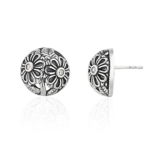 925 Sterling Silver Cubic Zirconia CZ Nature Inspired Flower Petals Artisan Button Stud Earrings