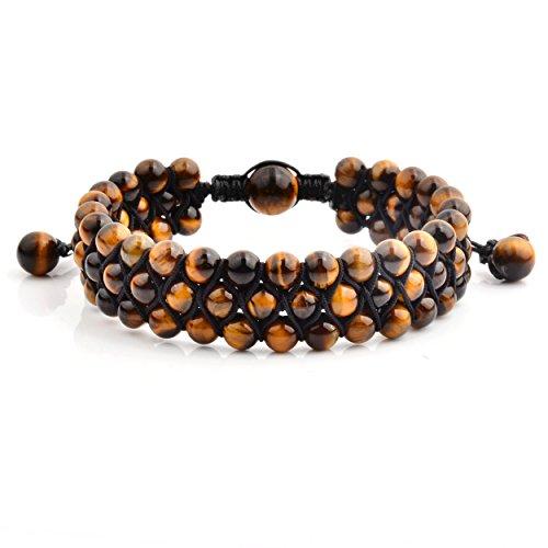 Crucible Jewelry Mens Tiger's Eye Stone Beaded Triple Row Adjustable Bracelet (18mm Wide), Brown, One ()