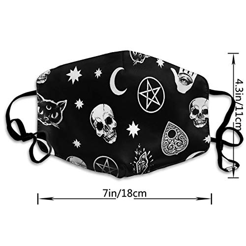 AllCOVER Washable Reusable Mouth Mask Cotton Anti Dust Half Face Mouth Mask for Men Women Dustproof with Adjustable Ear Loops(Skull Cat Moon Gothic Pattern Black)