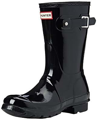 Hunter Womens Original Short Gloss Black Rain Boot - 5