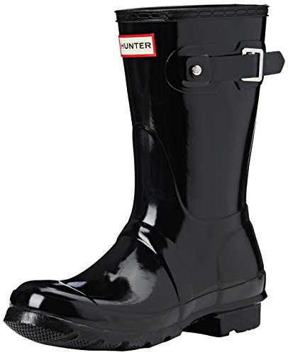 Hunter Womens Original Short Black Gloss Rain Boot - 8 B(M) US
