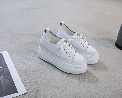 L'intrieur Paresseux En Deux Chaussures ponge Loisirs Sport De Porter chaussures Blanc Pour Kphy Fond cinq Lacet pais Femmes Cuir Trente Augment Avant Gateau Z8wAqUY