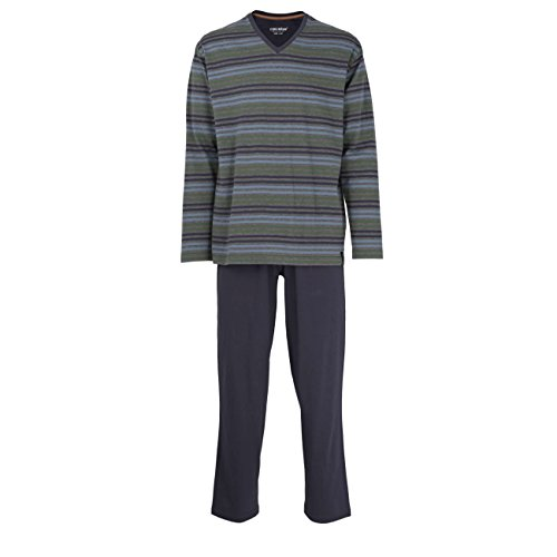 CECEBA Herren Pyjama, Schlafanzug, Shirt und Hose, langarm, Baumwolle, Single Jersey, blau, gestreift