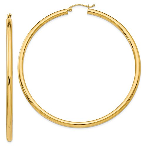 MCS Jewelry 14 Karat Yellow Gold Round Hoop Earrings 3mm Thickness (Available in 7 Different Sizes) (60 mm Diameter)