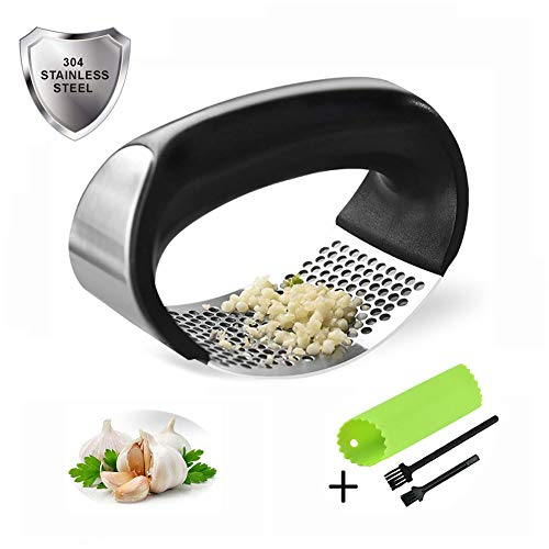 Garlic Press Rocker, Feiven 304 Stainless Steel Garlic Mincer Crusher,Silicone Garlic Peeler And Cleaning Brush Professional Food Grade Kitchen Tool Set, Easy Squeeze, Rust Proof,Easy Clean