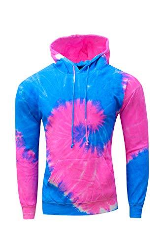 Kara Hub Unisex Neon Blue and Pink Long Sleeve Pullover Tie Dye Hoodie Sweatshirt (X-Large, Blue + Pink) ()