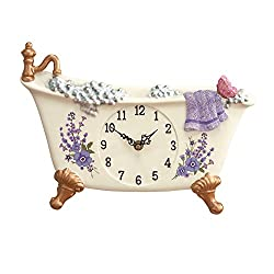 Collections Etc Lavender Claw Foot Style Bathtub Decorative Wall Clock