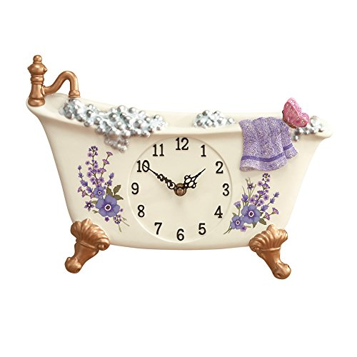 Butterfly Floral Clock - Collections Etc Lavender Claw Foot Style Bathtub Decorative Wall Clock