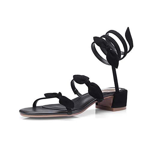 Solide Chaussures Hoesczs Femme D'été Carré Mode Sandales Talons Casual Daim Qualité Bowtie Med Enfant Nouvelle Meilleure Black En Noir x7pxfq48w
