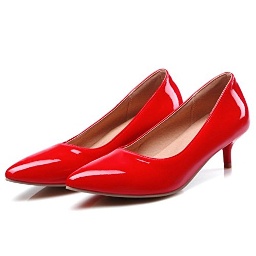 COOLCEPT Damen Simple Basic Office Pumps Slip On Kitten Heels Work Schuhe Rot