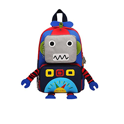SUNBABY Boys' Backpack With Leash Robot Waterproof Comic School Bag With Lunch Kit (Robot-Blue, One Size)