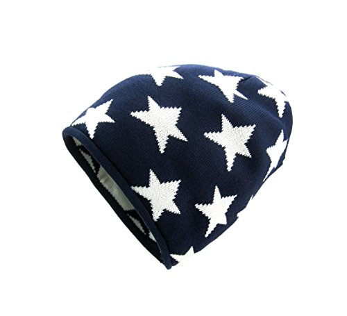 (Navybule Star Pattern Boys Kids winter knit hat Cotton( 2y-12y ))